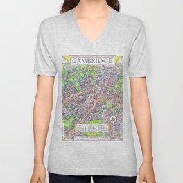 CAMBRIDGE University map ENGLAND Unisex V-Neck