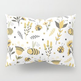 Bees and ladybugs. Gold and black Pillow Sham