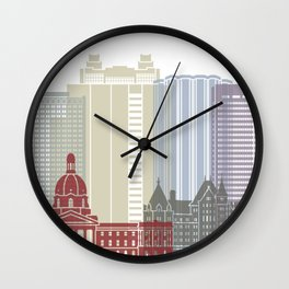 Edmonton skyline poster Wall Clock