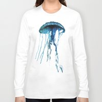 jelly fish Long Sleeve T-shirts featuring Jelly Fish Blue by Luigi Riccardi