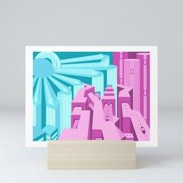 Cyan & Magenta Cityscape Mini Art Print