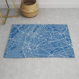 New York City Map of the USA - Blueprint Rug
