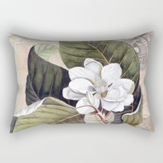 Vintage White Magnolia  Rectangular Pillow