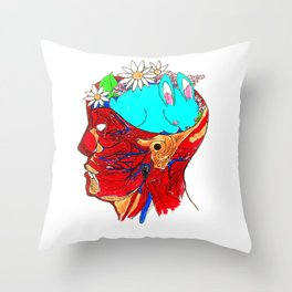 Funny Bunny Brain Throw Pillow
