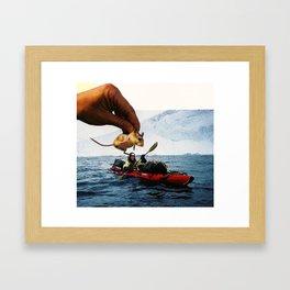 Mouse Garnish On Kayak Surprise Framed Art Print