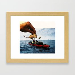 Mouse Garnish On Kayak Surprise Framed Art Print