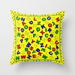 Primary Polka Dots YELLOW Alphabet Throw Pillow