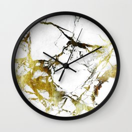 Gold-White Marble Impress Wall Clock