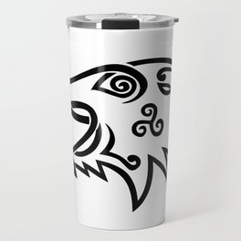 Boar Head Celtic Knot Black and White Stencil Travel Mug