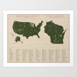 US National Parks - Wisconsin Art Print