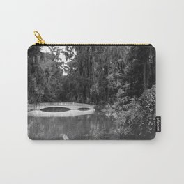 Black and White of the Long White Bridge at Magnolia Plantation Carry-All Pouch
