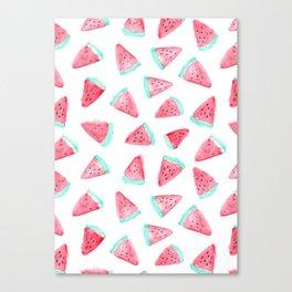 Watermelon watercolor pattern Canvas Print