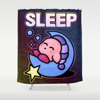 kirby Shower Curtains featuring Kirby Sleep by likelikes