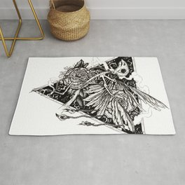 flight, pen and ink Rug