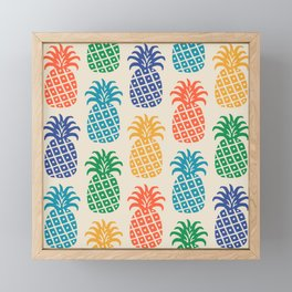 Retro Mid Century Modern Pineapple Pattern in Multi Colors Framed Mini Art Print