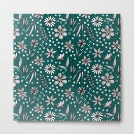 black and white floral on a dark teal background Metal Print