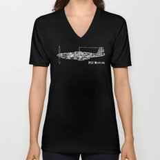 North American P51 Mustang (White) Unisex V-Neck