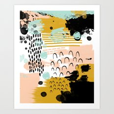 Ames - Abstract painting in free style with modern colors navy gold blush white mint Art Print