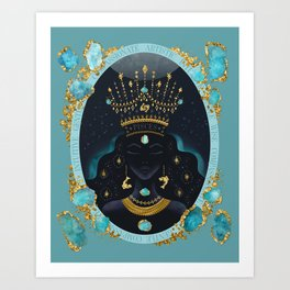 Pisces Zodiac Queen | March Birthday | Aquamarine Birthstone  Art Print