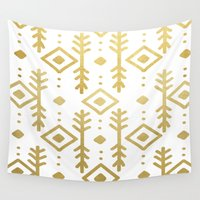 nordic Wall Tapestries featuring GOLD NORDIC by Nika