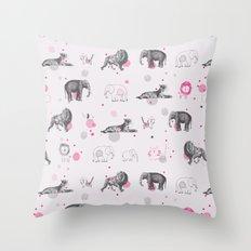 Animal Circus Throw Pillow