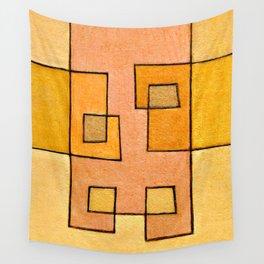 Protoglifo 04 'yellow hugging pink' Wall Tapestry
