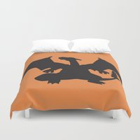 charizard Duvet Covers featuring Charizard Silhouette by Jessica Wray