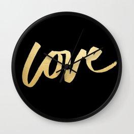 Love Gold Black Type Wall Clock