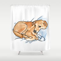 leo Shower Curtains featuring Leo by Ken Coleman