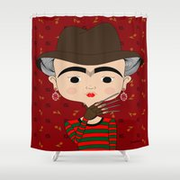 freddy krueger Shower Curtains featuring Frida Krueger by Camila Oliveira