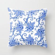Paisley: Blue China Combo Throw Pillow