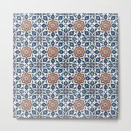 Iznik Tile Pattern Red Blue White Metal Print