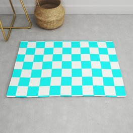 Checker Texture  (Cyan & White) Rug