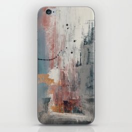 S'il Vous Plait: an abstract mixed-media piece in blue, gray, and gold by Alyssa Hamilton Art iPhone Skin