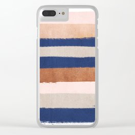 Stripes abstract minimalist painting bronze copper gold metallic stripe pattern decor nursery Clear iPhone Case