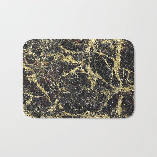 Marble - Glittery Gold Marble on Black Design Bath Mat