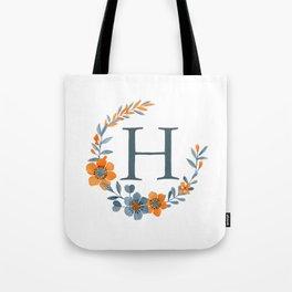Monogram H Orange Autumn Floral Wreath Tote Bag