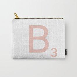 Pink Scrabble Letter B - Scrabble Tile Art Carry-All Pouch