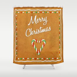 Merry Christmas Gingerbread Biscuit Shower Curtain