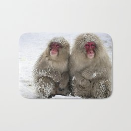 two snow monkeys Bath Mat