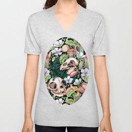 Watercolour Carnivorous Plants and Skulls Unisex V-Neck