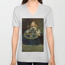 Diego Rodriguez de Silva y Velázquez - Infanta Margarita Teresa in a Blue Dress Unisex V-Neck