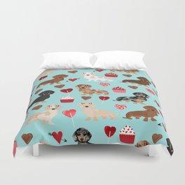Dachsund dachsie doxie valentines day valentine hearts love cupcakes cute dog gifts Duvet Cover