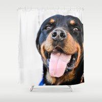 rottweiler Shower Curtains featuring Happy rottweiler by StarsColdNight