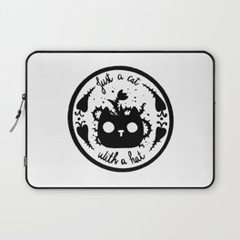 Just a cat with thorn flower hat black and white Laptop Sleeve
