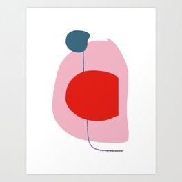 Zen Line Art Shape Pink Bleu Abstract by Emmanuel Signorino  Art Print