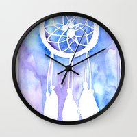 dream catcher Wall Clocks featuring Dream Catcher by Robin Ewers