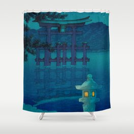 Japanese Woodblock print Torii In The Lake During Night Blue Monochromatic Shower Curtain