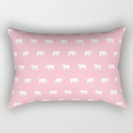Pink and White Elephants Rectangular Pillow
