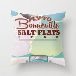 Bonneville Salt Flat Utah vintage travel poster Throw Pillow